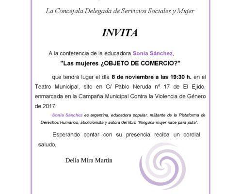 Conferencia Sonia Sánchez: invitación